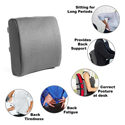 posture memory foam lumbar support cushion gray sleep well pillows