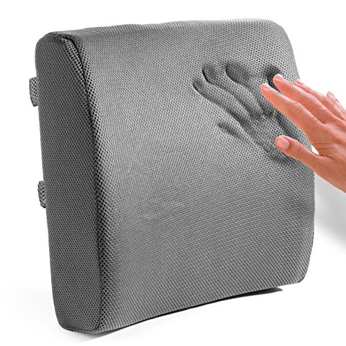 easy posture memory foam lumbar support cushion - gray - sleep